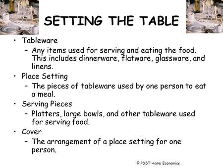 SETTING THE TABLE Tableware