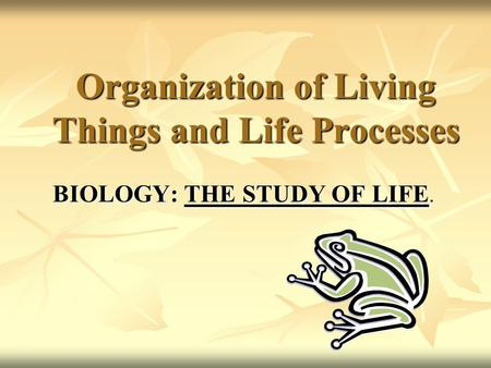 Organization of Living Things and Life Processes BIOLOGY: THE STUDY OF LIFE.