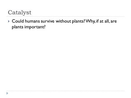 Catalyst  Could humans survive without plants? Why, if at all, are plants important?