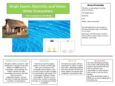 Areas of Learning This term we are going to be doing three mini topics; The Angle Saxons Electricity and Water, water everywhere! We will make links to.
