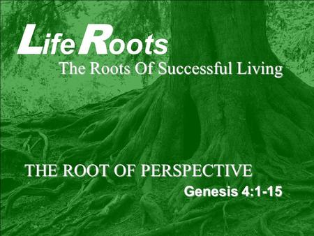 L ife R oots The Roots Of Successful Living THE ROOT OF PERSPECTIVE Genesis 4:1-15.