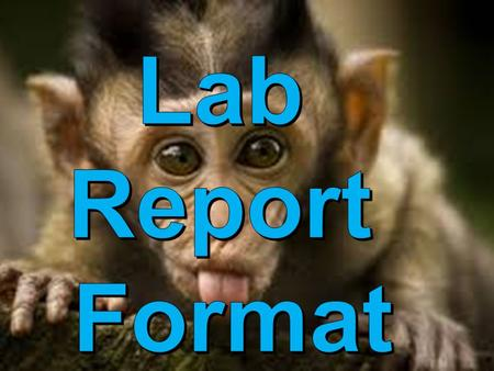 Title  Title page  Should reflect experiment Purpose  1-2 sentence stating why you are doing the experiment.