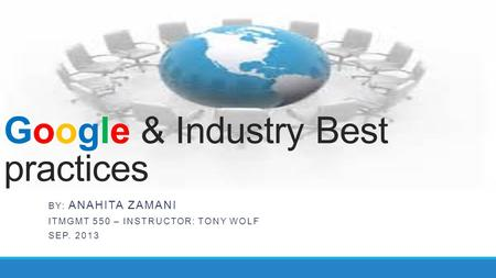 Google & Industry Best practices BY: ANAHITA ZAMANI ITMGMT 550 – INSTRUCTOR: TONY WOLF SEP. 2013.