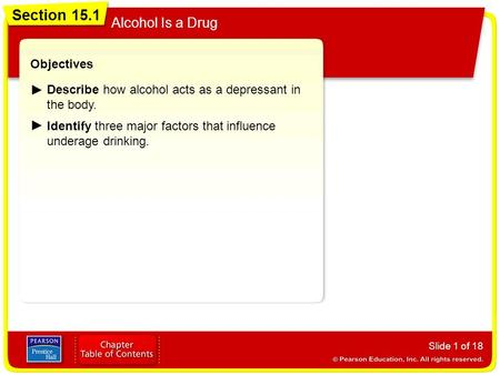 Section 15.1 Alcohol Is a Drug Objectives