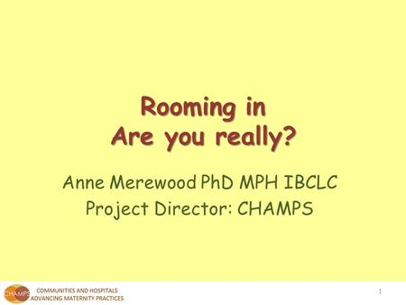 Anne Merewood PhD MPH IBCLC Project Director: CHAMPS Rooming in Are you really? 1.