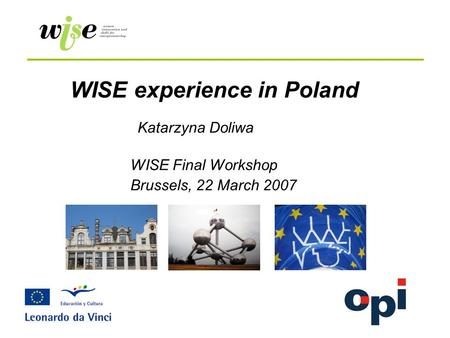 WISE experience in Poland WISE Final Workshop Brussels, 22 March 2007 Katarzyna Doliwa.