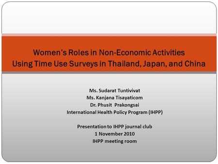 Women's Roles in Non-Economic Activities