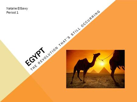 EGYPT THE REVOLUTION THAT'S STILL OCCURRING Natalie ElSawy Period 1.
