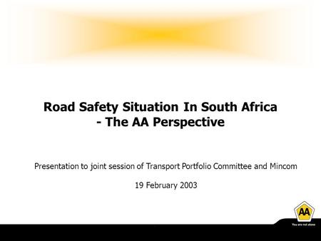 Road Safety Situation In South Africa - The AA Perspective Presentation to joint session of Transport Portfolio Committee and Mincom 19 February 2003.