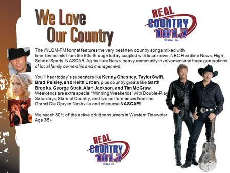The WLQM-FM format features the very best new country songs mixed with time-tested hits from the 90s through today coupled with local news, NBC Headline.