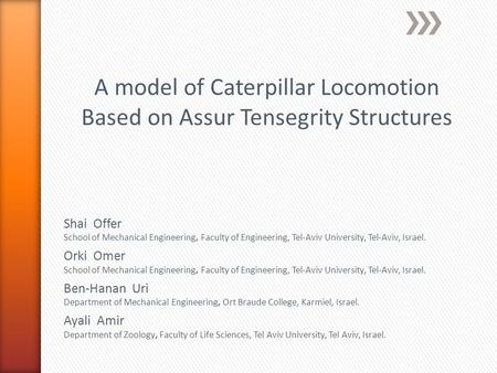 A model of Caterpillar Locomotion Based on Assur Tensegrity Structures Shai Offer School of Mechanical Engineering, Faculty of Engineering, Tel-Aviv University,