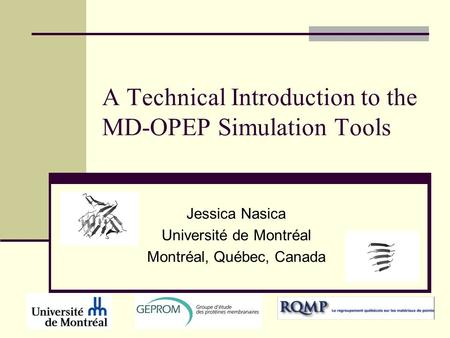 A Technical Introduction to the MD-OPEP Simulation Tools Jessica Nasica Université de Montréal Montréal, Québec, Canada.