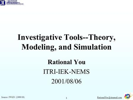 1 Investigative Tools--Theory, Modeling, and Simulation Rational You ITRI-IEK-NEMS 2001/08/06 Source: IWGN (1999/09)