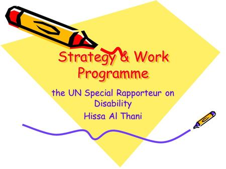 Strategy & Work Programme the UN Special Rapporteur on Disability Hissa Al Thani.