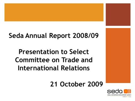 Seda Annual Report 2008/09 Presentation to Select Committee on Trade and International Relations 21 October 2009.