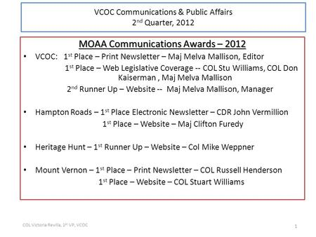 MOAA Communications Awards – 2012 VCOC: 1 st Place – Print Newsletter – Maj Melva Mallison, Editor 1 st Place – Web Legislative Coverage -- COL Stu Williams,