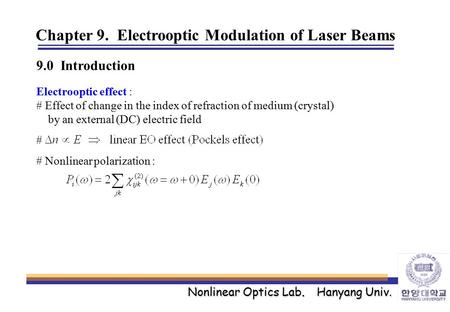 Chapter 9. Electrooptic Modulation of Laser Beams