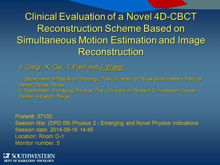 DEPT OF RADIATION ONCOLOGY Clinical Evaluation of a Novel 4D-CBCT Reconstruction Scheme Based on Simultaneous Motion Estimation and Image Reconstruction.
