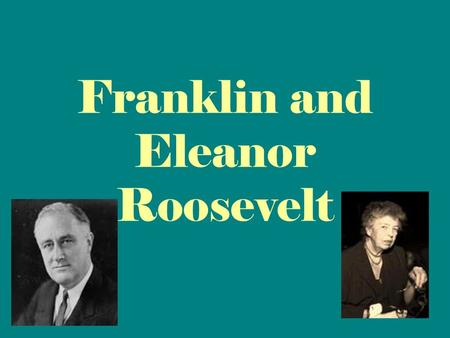 Franklin and Eleanor Roosevelt. What is the name of the plan FDR created to help America during the Great Depression?