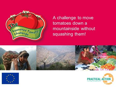 A challenge to move tomatoes down a mountainside without squashing them!