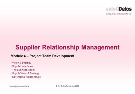 Team Development Slide 1 © The Delos Partnership 2005 Supplier Relationship Management Module 4 – Project Team Development Vision & Strategy Supplier Interfaces.
