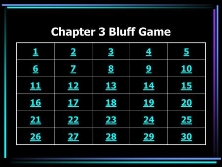 Chapter 3 Bluff Game 12345 678910 1112131415 1617181920 2122232425 2627282930.