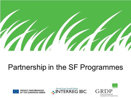 "Partnership in the SF Programmes. GRDP For IRT 2 Influencing the future programmes"" 3 main topics were identified –SEA –Greening projects –Partnership."