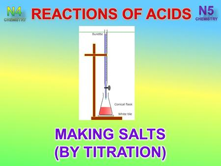 After completing this topic you should be able to : State to accurately neutralise an acid using a solution containing an alkali or a carbonate requires.