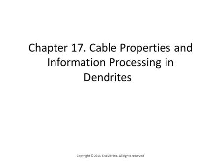 Chapter 17. Cable Properties and Information Processing in Dendrites