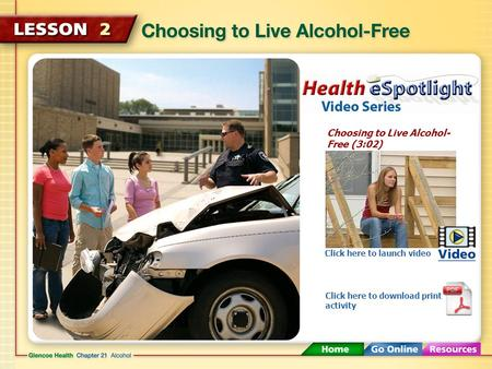 Choosing to Live Alcohol- Free (3:02) Click here to launch video Click here to download print activity.