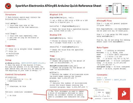 Sparkfun Electronics ATtiny85 Arduino Quick Reference Sheet