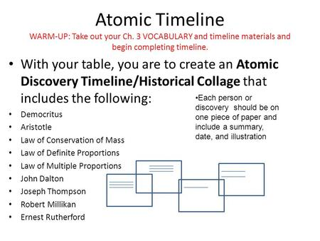 Atomic Timeline WARM-UP: Take out your Ch. 3 VOCABULARY and timeline materials and begin completing timeline. With your table, you are to create an Atomic.