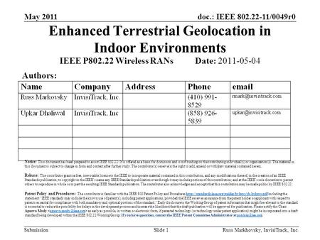 Doc.: IEEE 802.22-11/0049r0 Submission May 2011 Russ Markhovsky, InvisiTrack, Inc.Slide 1 Enhanced Terrestrial Geolocation in Indoor Environments IEEE.
