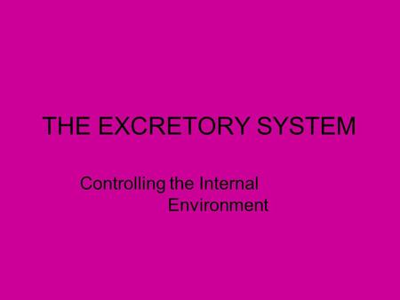 THE EXCRETORY SYSTEM Controlling the Internal Environment.