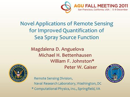 Magdalena D. Anguelova Michael H. Bettenhausen William F. Johnston* Peter W. Gaiser Novel Applications of Remote Sensing for Improved Quantification of.