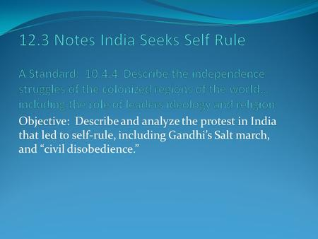 "Objective: Describe and analyze the protest in India that led to self-rule, including Gandhi's Salt march, and ""civil disobedience."""