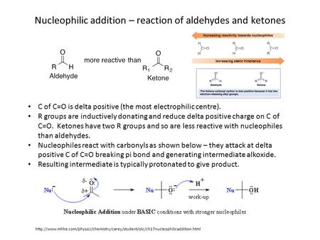 Nucleophilic addition – reaction of aldehydes and ketones C of C=O is delta positive (the most electrophilic centre). R groups are inductively donating.