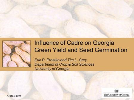 Influence of Cadre on Georgia Green Yield and Seed Germination Eric P. Prostko and Tim L. Grey Department of Crop & Soil Sciences University of Georgia.