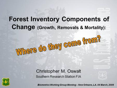Biometrics Working Group Meeting – New Orleans, LA. 04 March, 2009 Forest Inventory Components of Change (Growth, Removals & Mortality): Christopher M.