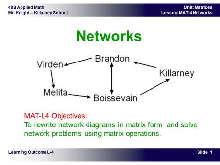 40S Applied Math Mr. Knight – Killarney School Slide 1 Unit: Matrices Lesson: MAT-4 Networks Networks Learning Outcome L-4 MAT-L4 Objectives: To rewrite.