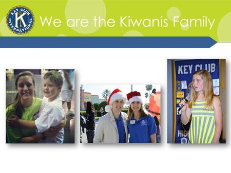 We are the Kiwanis Family. Kiwanis Family Relations The Kiwanis Family: K-Kids, Builders Club, Key Club, Circle K, Kiwanis, and Aktion Club.