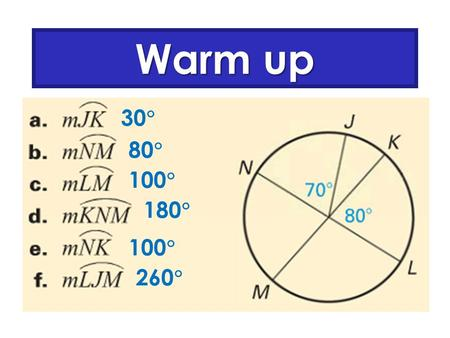 Warm up 30  80  100  180  100  260 . Inscribed Angles and Inscribed Quadrilaterals.