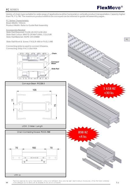 FlexMove 9.8 FC SERIES FC FC Series Characteristic Beam Width: 105mm Product Width: Refer to Guide Rail Assembly Accessories Needed Slide Rail Required:
