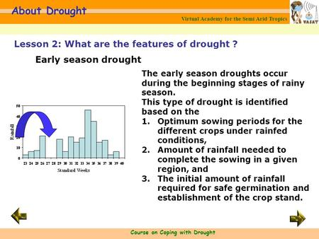 Virtual Academy for the Semi Arid Tropics Course on Coping with Drought About Drought The early season droughts occur during the beginning stages of rainy.