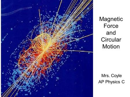 Magnetic Force and Circular Motion Mrs. Coyle AP Physics C.