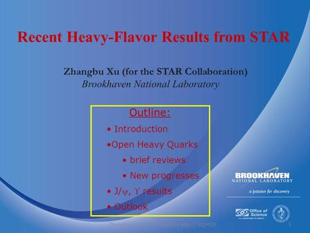 1 Zhangbu Xu (for the STAR Collaboration) Brookhaven National Laboratory Recent Heavy-Flavor Results from STAR Outline: Introduction Open Heavy Quarks.