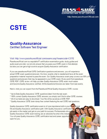 CSTE Quality-Assurance Certified Software Test Engineer Visit: