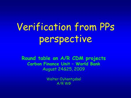 Verification from PPs perspective Round table on A/R CDM projects Carbon Finance Unit – World Bank August 24&25, 2009 Walter Oyhantçabal A/R WG.