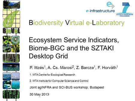 Ecosystem Service Indicators, Biome-BGC and the SZTAKI Desktop Grid P. Ittzés 1, A. Cs. Marosi 2, Z. Barcza 1, F. Horváth 1 1. MTA Centre for Ecological.