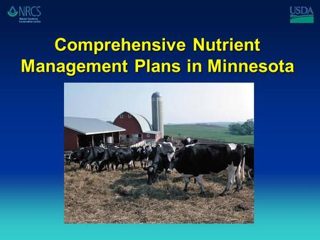 Comprehensive Nutrient Management Plans in Minnesota.